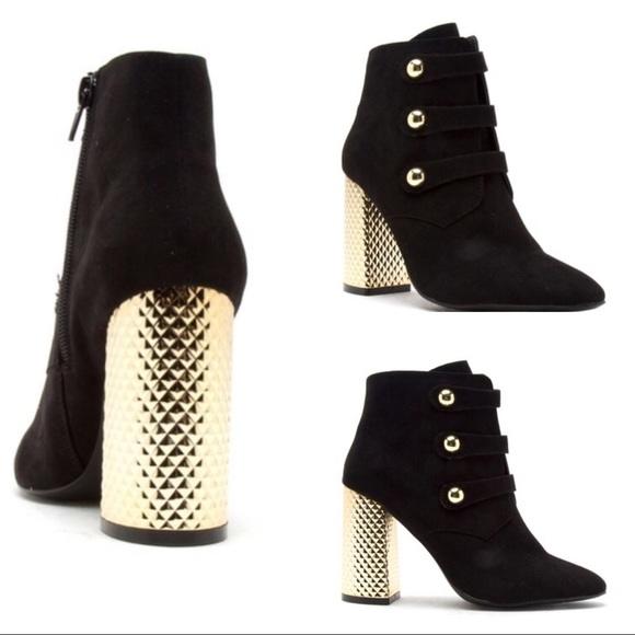 Black Booties With Gold Chunky Heel